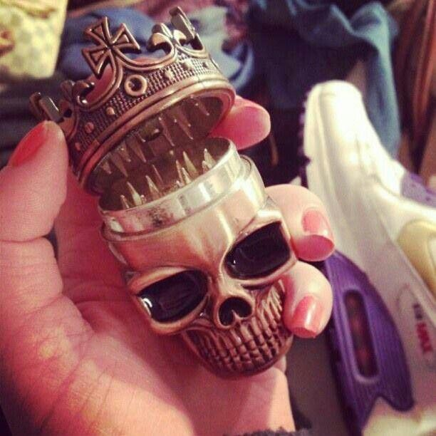 Skull grinder.. love this! Id probably cover this in gold glitter and make the eyes red.... With glitter :)