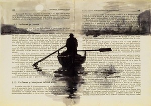 Boatman - Ink Drawing. Just like we did, on booksm all black ink and some diluted ink.