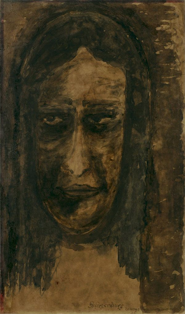 Rabindranath Tagore Medium: Water colour on paper Year: 1932 Size: 18.5 x 11.2 in.