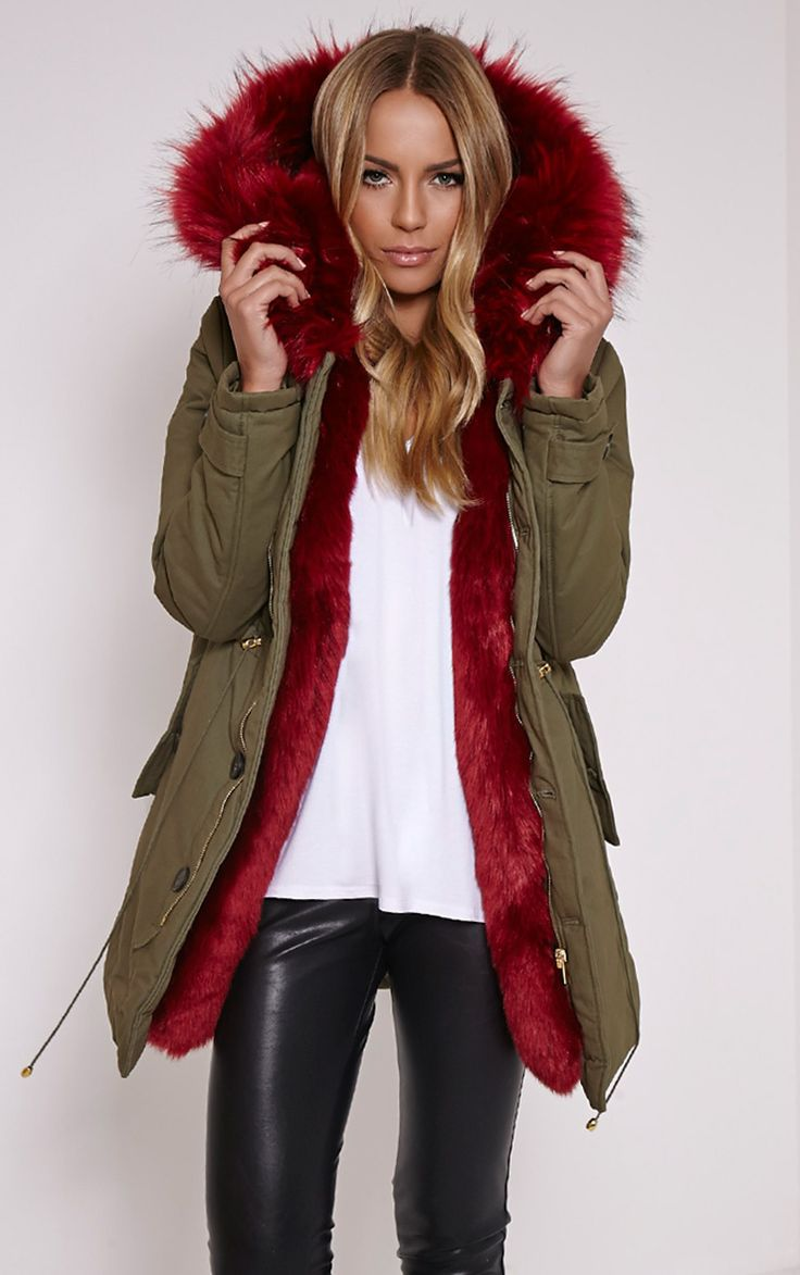 Jen Red Faux Fur Lined Premium Parka Coat Image 1