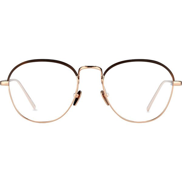 Oval Optical Frames in Rose Gold and Mocha - Linda Farrow (2.060 BRL) ❤ liked on Polyvore featuring accessories, eyewear, eyeglasses, linda farrow, linda farrow glasses, oval glasses, rose gold glasses and oval eyeglasses