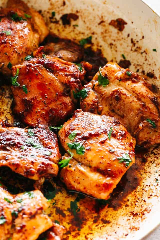 Juicy Stove Top Chicken Thighs Perfectly Golden Tender And Juicy Skinless And Bonele Boneless Chicken Thigh Recipes Chicken Thigh Recipes Stove Top Chicken