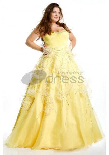 Plus Size Prom Dresses / Length Sweetheart Strapless Yellow Plus Size Prom Dresses / http://www.thdress.com/Length-Sweetheart-Strapless-Yellow-Plus-Size-Prom-Dresses-p776.html