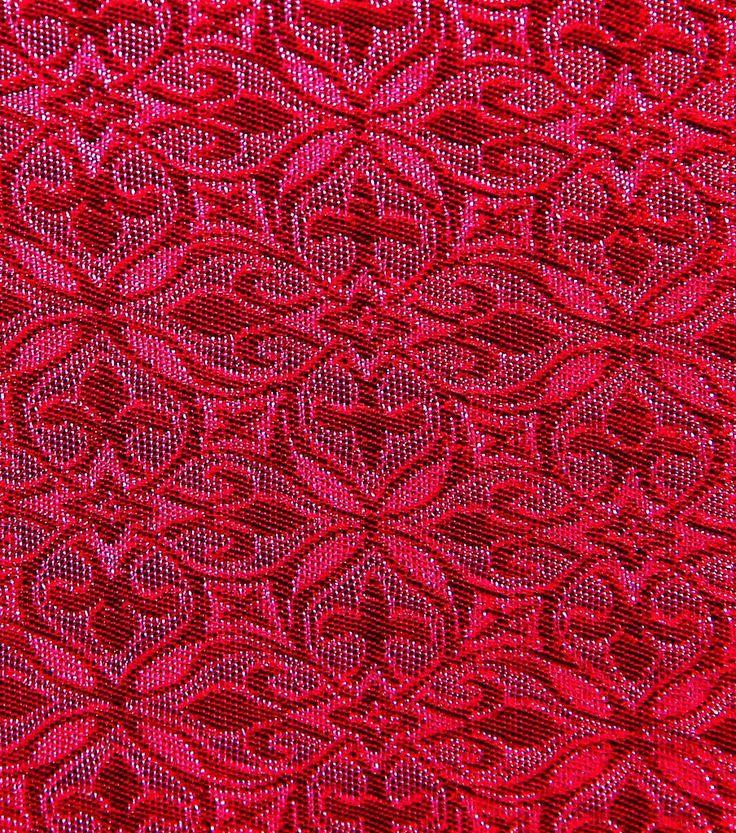 Brocades & Saris Fabric 45''-Tango Red Geometric