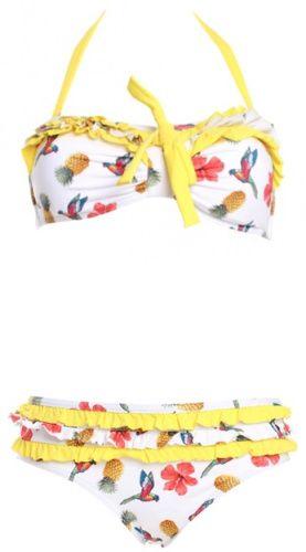 Maillot de bain blanc à fleurs, ananas, oiseaux, Kiwi Saint Tropez