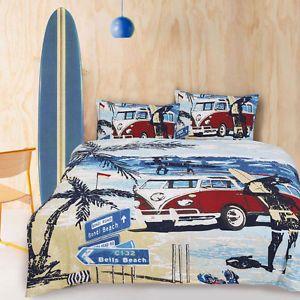surfer beds for boys | Retro-Summer-Combi-Van-Beach-Surf-Boys-Teen-DOUBLE-Size-Quilt-Doona ...
