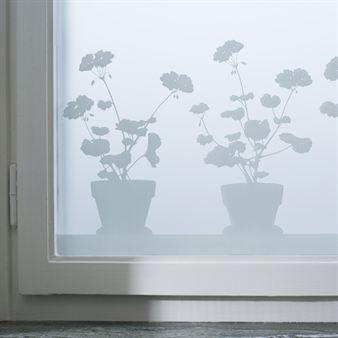 Pelargon window screen film  - 34x98 cm - Siluett Frost
