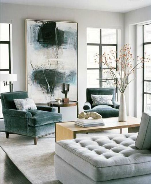 clean lines / dark teal-accented, gray living room