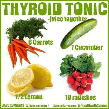 """Thyroid Tonic Recipe: 6 carrots, 1 cucumber, 10 radishes, 1/2 lemon Radishes contain a substance called Raphanin. This is what Wikipedia says about Raphanin... """"Given that Raphanin can be chiefly responsible for keeping the production of thyroxine and calcitonin in normal balance, in Russia, radishes have long been used for treating both types of thyroid problems."""""""