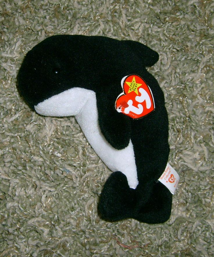 TY Original Beanie Baby WAVES the whale Date of birth 12-8-96 - New with tag #Ty