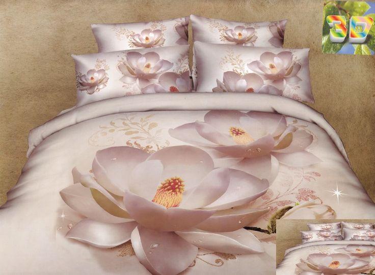 Moderné posteľné obliečky 3D vzor biele lekno