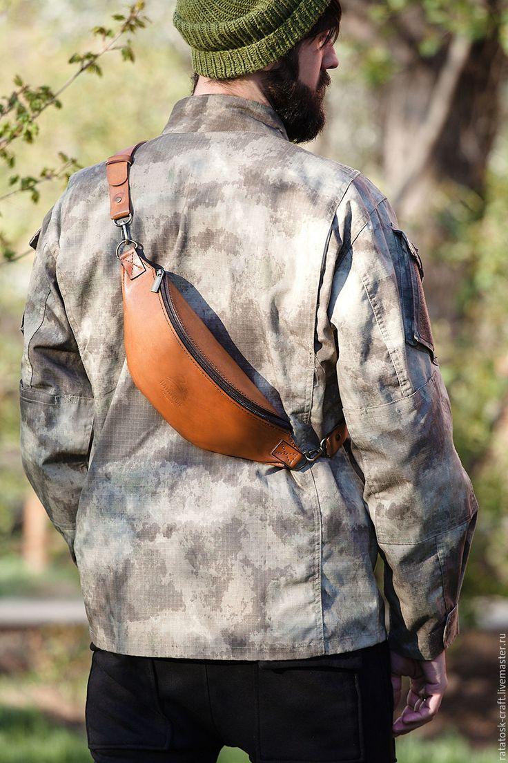 Купить Поясная сумка - барсетка из натуральной кожи - коричневый, поясная сумка, поясная сумка кожаная