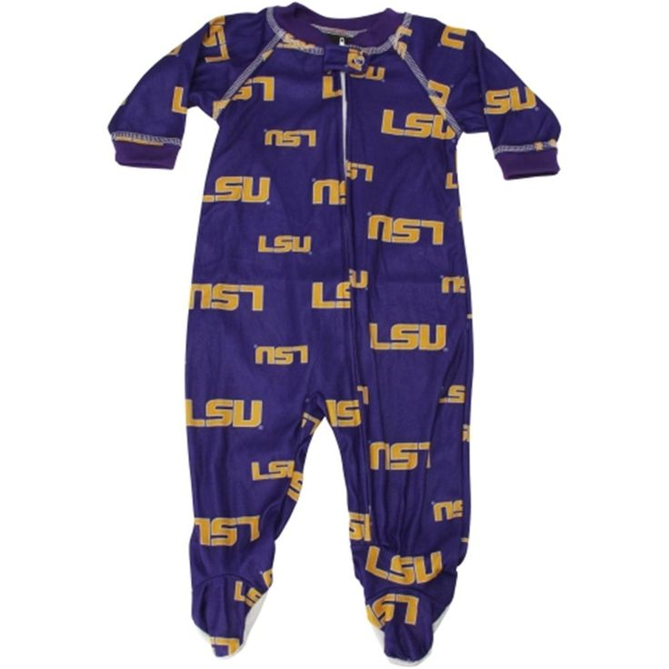 LSU Tigers Infant Purple Full-Zip Raglan Coverall Pajamas