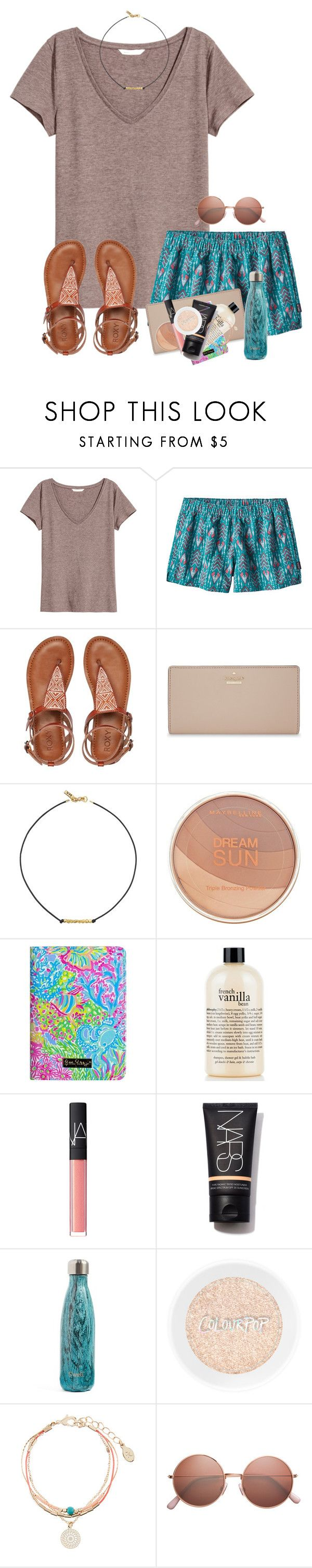 """""""Leaving for lake house tomorrow!"""" by zoejm ❤ liked on Polyvore featuring H&M, Patagonia, Roxy, Kate Spade, Vanessa Mooney, Maybelline, Lilly Pulitzer, philosophy, NARS Cosmetics and S'well"""