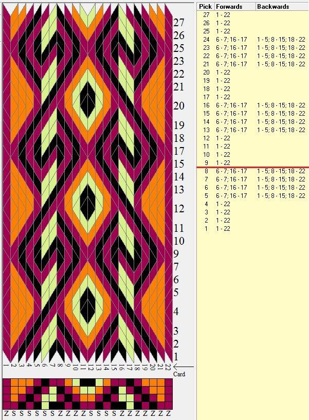 22 tarjetas, 4 colores, repite cada 8 movimientos // sed_476 diseñado en GTT༺❁