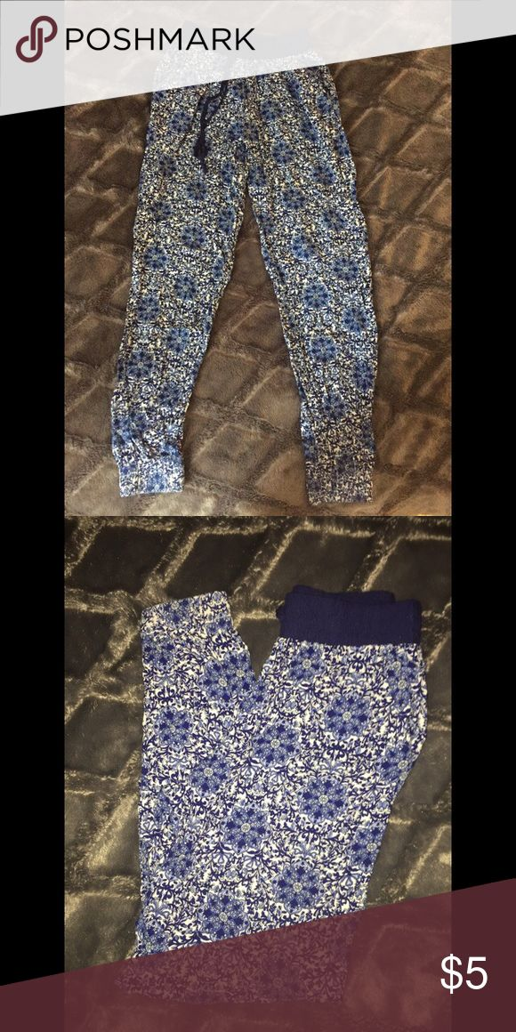 Blue and white high wasted pants Worn once, too big for me, super cute pants with tie! Forever 21 Pants