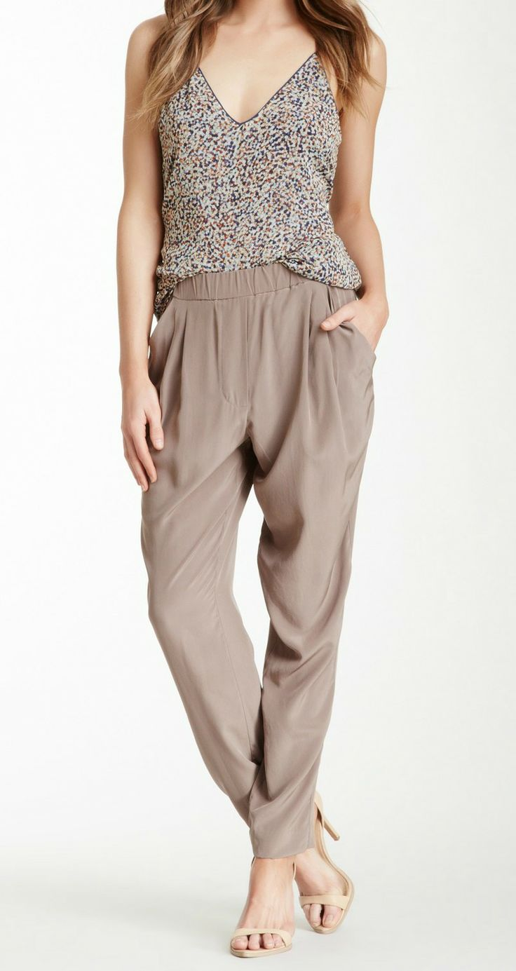 draped silk pant and sparkle top