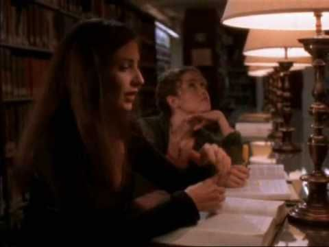 "Just watched this last night! -e The West Wing (May 10, 2000, TV series), ""Lies, Damn Lies, and Statistics."" Lisa Edelstein as law student / call girl Laurie is in the law library studying for the bar exam. http://www.imdb.com/title/tt0745649/"