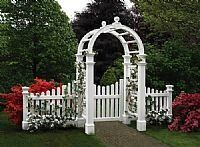 Cottage Picket Gate by New Englad Arbors. $374.99. Assembly required. Steel hinges and latch set. Guaranteed for 20 years against fading, cracking, warping, or yellowing. You won't believe it's not wood. New England Arbors offer inspired, affordable designs built to thrive in the real world. Their realistic appearance will enhance any outdoor setting. Guaranteed for 20 years against fading, cracking, warping or yellowing. A charming welcome to your home or garden, these g...