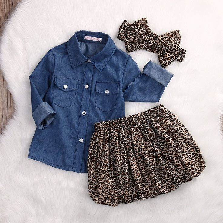 Denim Top + Cheetah Skirt & Headband-3pcs