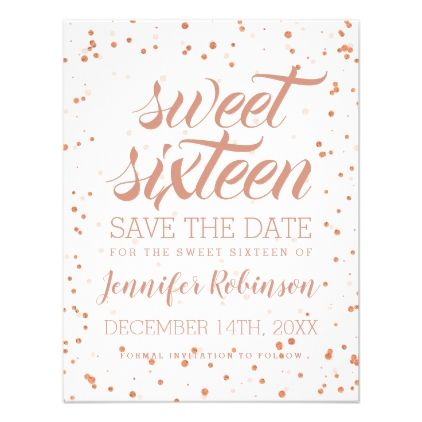 rose gold sweet 16 save date sparkle confetti card invitations