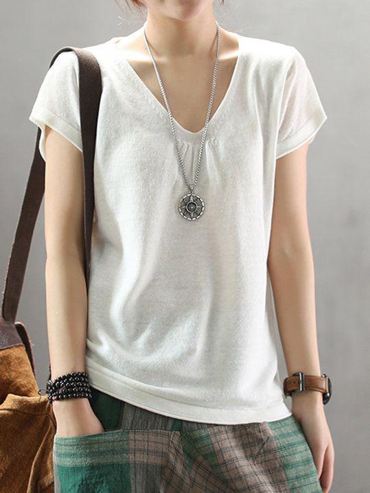 162eaf35b Stylewe Summer Basic V Neck Solid Linen Top   SITK Dress Shop in ...