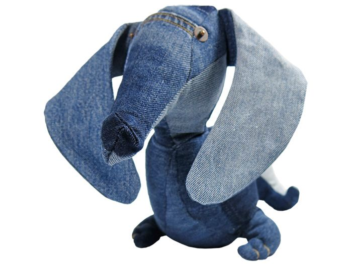 Maison Indigo Stuffed Animals Dachshund Dog Teckel - Recycled Denim Jeans Plush Toys Childrens Kids Cuddle Accessories Home Decor - The Netherlands Animaux de Nimes Collection - Made in Denim Finds Fashion Style