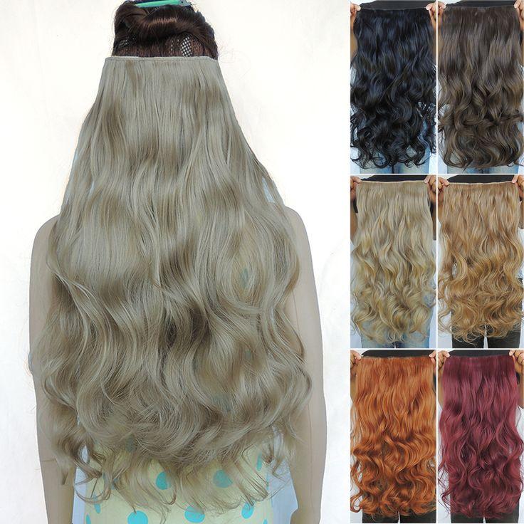 Grampo em extensões de cabelo sintético extensões de cabelo peças 24 polegadas encaracolado aplique de cabelo extensão peruca 25 cores disponíveis