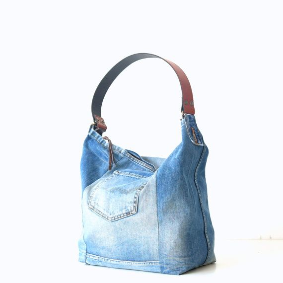 unique jeans bag made of recycled old jeans bags & by Lowieke