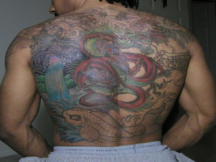 Chinese Artwork Dragon & Koi Fish Mens Back #Tattoo