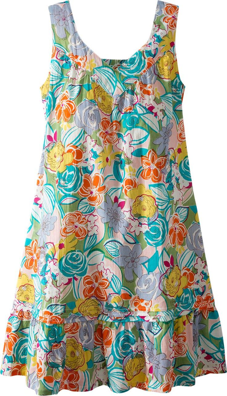 Floral Chemise Nightgown: The vibrant florals on 100% woven cotton give this lovely gown ageless appeal, while the mid-length styling and soft v-neck flatter any figure.