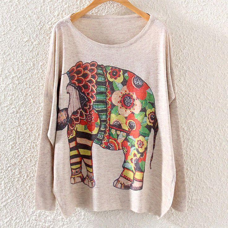 Fashion Women Long Sleeve Cartoon Print Sweater Coat Pullover Knitwear Tops | eBay