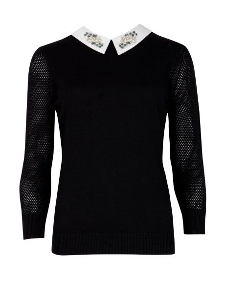 Embellished collar sweater - Black | Sweaters | Ted Baker #PinpoinTED