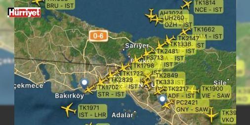 Atatürk Havalimanı'nda trafik altüst: İstanbul Atatürk Havalimanı'nında hava seyrüsefer sistemlerinin kontrolü için yapılan kalibrasyon uçuşu nedeniyle iniş yapacak olan uçaklarda yoğunluk meydana geldi.