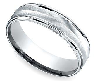 Chevron Design Men's Wedding Ring in White Gold