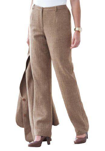 Plus size wool blend pants