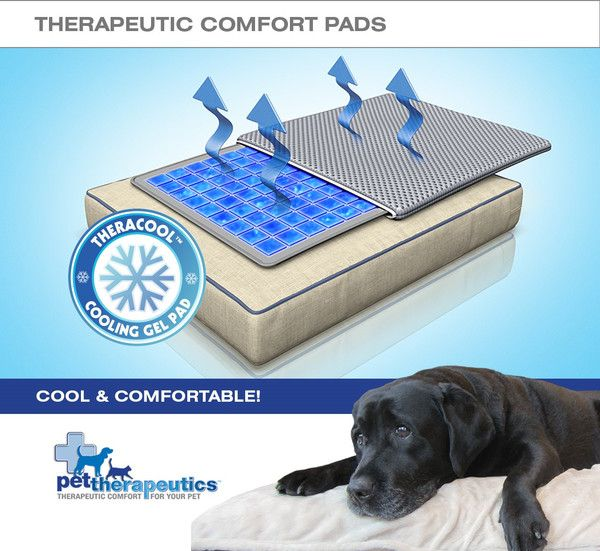 TheraCool™ Cooling Gel Pad TheraCool™ cooling pads are comprised of maximum depth, non-toxic gel cells that are designed to help reduce inflammation, provide support, ease pain and promote circulation.So after a full day of running, playing and fetching, he's feelin' it too. Go on, throw him a bone, let him chill out and watch the game comfortably.Oh, and if he even thinks of chewing on his new TheraCool™ gel pad, we've already got you covered with a No-Chomp protection cover.