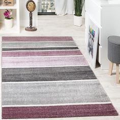 Designer Teppich Hochwertig Modern Linien Muster Meliert Zeitlos Graustufen Lila Grau Wohn und Schlafbereich Designer Teppiche