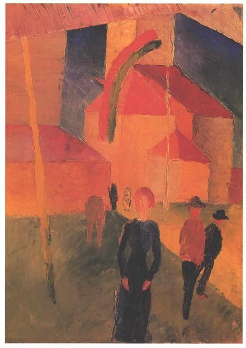 'Kirche mit Fahnen geschmückt', öl auf leinwand von August Macke (1887-1914, Germany)