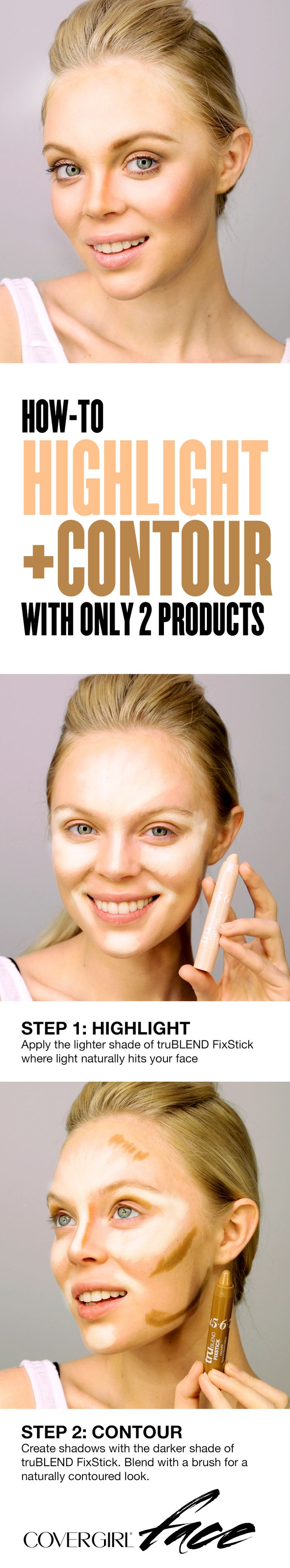 Learn how to contour with only 2 products. First, highlight down the bridge of your nose, on your chin, and in upward strokes on the high plane of your cheekbones and center of the forehead using truBLEND FixStick in a shade lighter than your skin tone. Second, contour by creating shadows in the hollows of your cheeks and along your hairline and jaw with a shade of truBLEND FixStick that's darker than your natural skin tone.