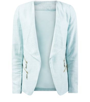 """Jumpo. Dress up a pair of classic blue skinny jeans with this mint green blazer - add heeled ankle boots to compliment the look.- 2 zip front- Open front- 3/4 sleeves- Textured finish- Collared neck- Casual fit- Model is 5'8""""/176cm and wears UK 10/EU 38/US 6"""