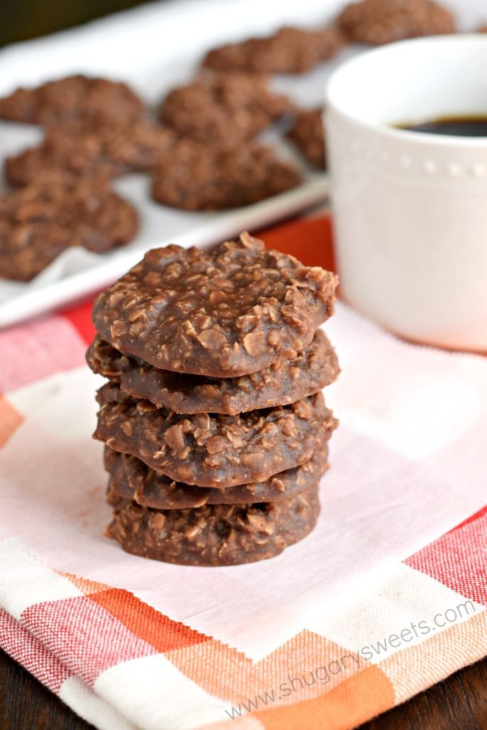 Easy recipe for No Bake Chocolate Cookies! The peanut butter with chocolate and oats gives these cookies so much flavor, you can't stop at just one!