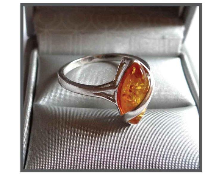 VINTAGE BAGUE AMBRE / Vintage Amber&Silver Ring / Bague 80' / Amber Ring . de la boutique LaChinneuse sur Etsy