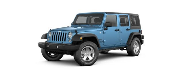 blue Jeep Wrangler 4 door