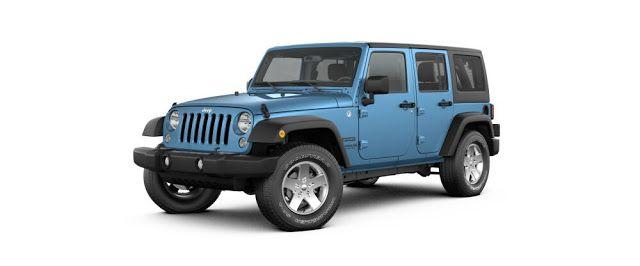 blue Jeep Wrangler 4 door
