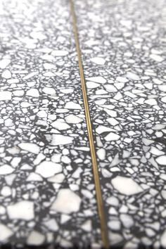 Terrazzo with brass inlay.