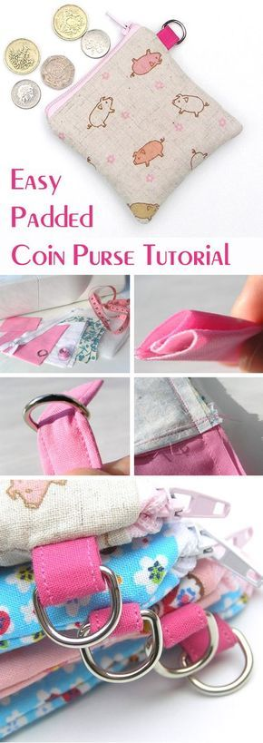 How to make a little zip up purse - a really easy tutorial. http://www.free-tutorial.net/2017/09/easy-coin-purse-tutorial.html