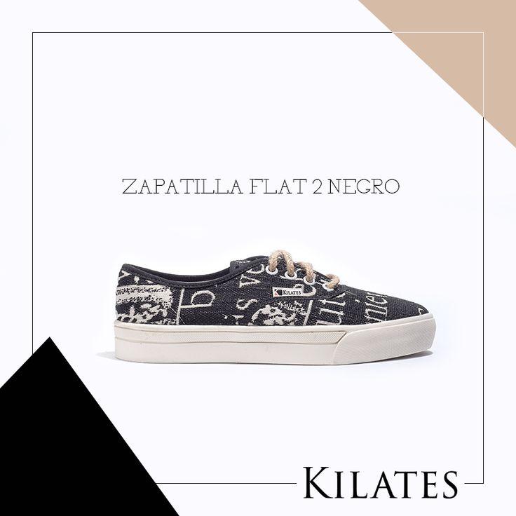 Zapatilla Flat 2 Negro