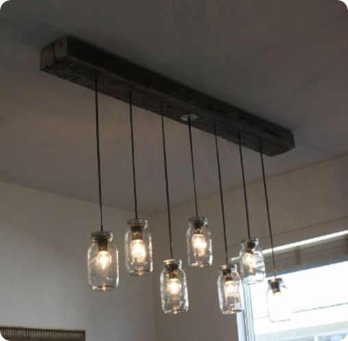 how make a kitchen light with mason jars | Mason Jar Chandelier