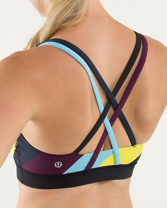 lululemon Energy Bra | pow stripe split pea/blue moon/plum sz 12 because this one was a size up in this color way